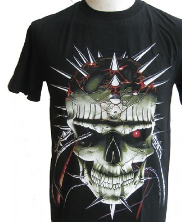 Spiked Skull  T Shirt With Large Back Print